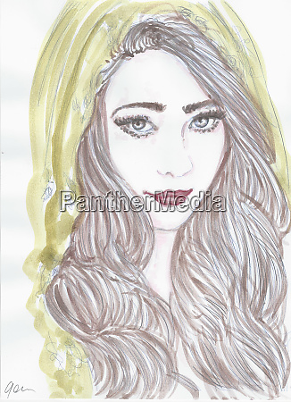 woman portrait original drawings painted with