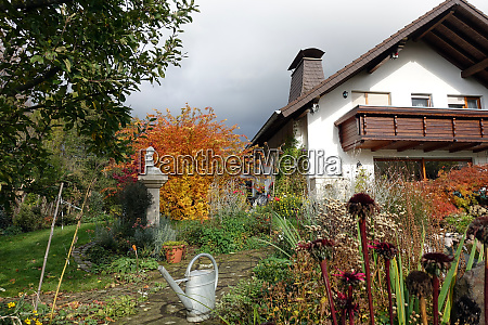 detached house with garden pond in