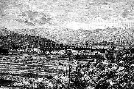cetinje capital of montenegro vintage engraving