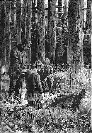 a burial in the forest