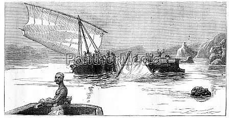 sinking of a boat vintage engraving