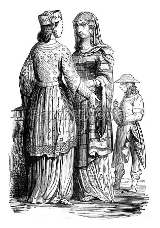 nobleman and noble ladies vintage engraving