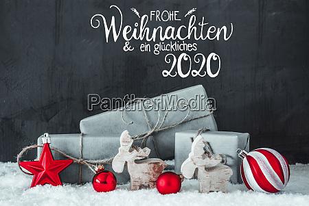 snow gift red decoration glueckliches 2020