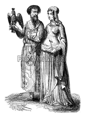 lord and noble lady vintage engraving