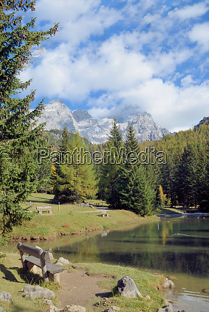 idyllic place at mountain lake near