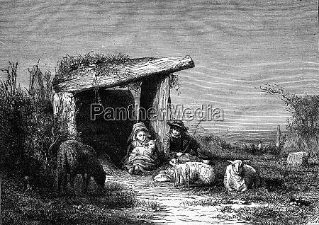 small breton shepherds vintage engraving