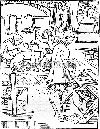 the tailor vintage engraving