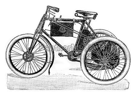 automotive tricycle vintage engraving