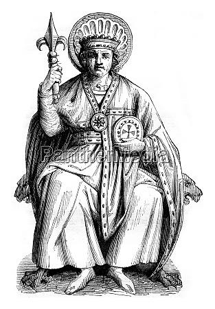 statue of pepin in the church