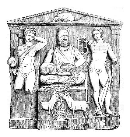 museum reims gallo roman altar vintage