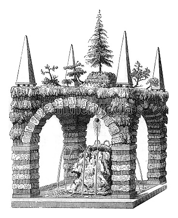 a rustic fountain after a draft