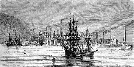 swansea factories and docks vintage engraving
