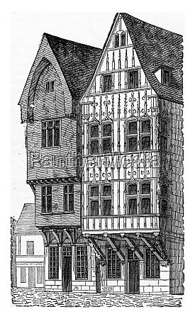wooden houses a reims vintage engraving