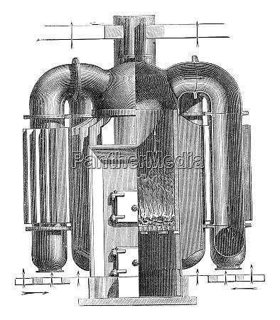 hollow furnace fins vintage engraving
