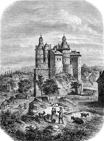 chateau de montbeliard vintage engraving