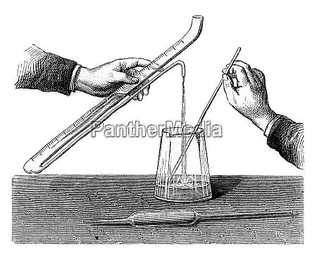 determination of acidimetric title vintage engraving