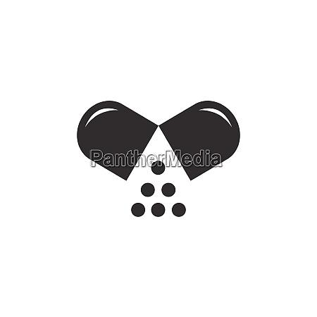 opened pill icon pharmacy vector illustration