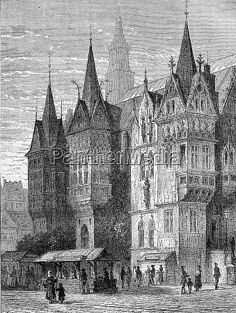 town hall breslau vintage engraving