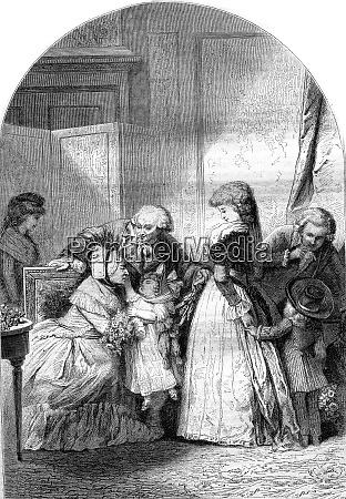 the feast of grandma vintage engraving