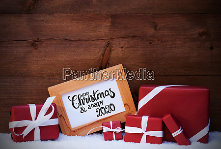 frame red gift snow merry christmas
