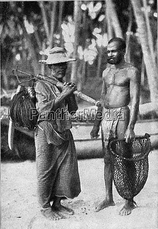 sinhalese fishermen vintage engraving