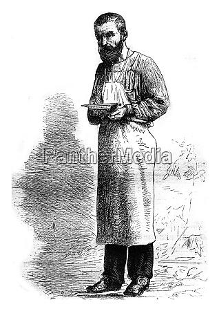 waiter naples vintage engraving