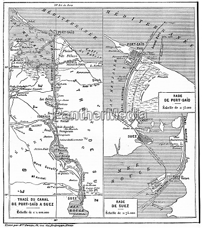 map of suez canal vintage engraving