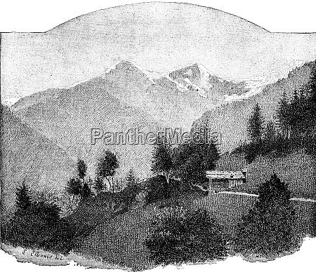 chain of jungfrau vintage engraving