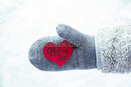 glove fleece snow red heart merry