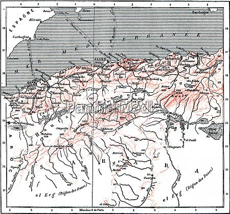 map of algeria vintage engraving