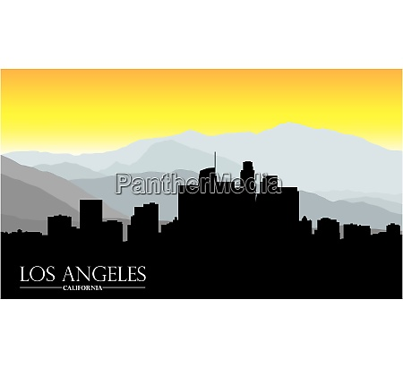los angeles california skyline with mountains