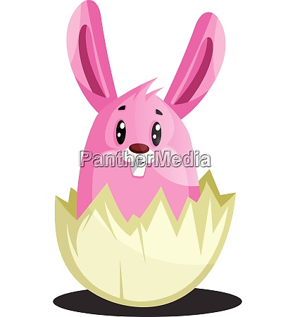 pink easter bunny in cracked eggshell