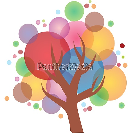 colorful happy bubble tree vector or