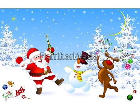 joyful santa snowman and deer celebrate