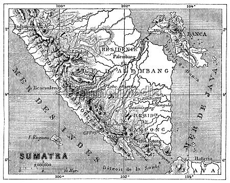 map of sumatra vintage engraving