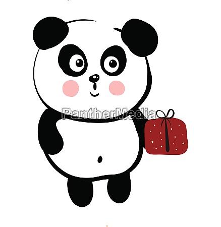 cute black and white panda holding