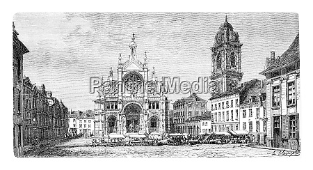 church of saint catherine vintage engraving