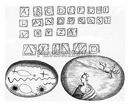 strange drawings on stones vintage engraving
