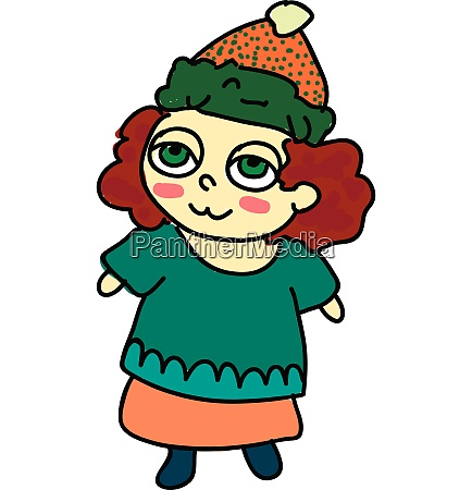 a girl wearing skirt vector or