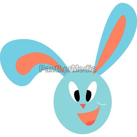 a happy blue bunny vector color