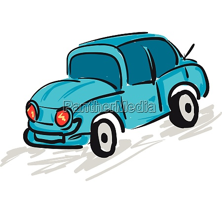 blue car with red headlights vector