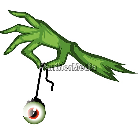green monster hand holding an eyeball