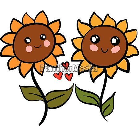 two cute sunflowers in love vector