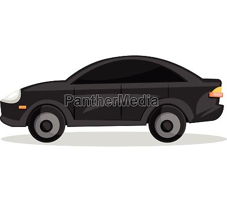 side view of black cartoon car