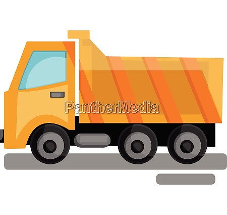cartoon yellow transporting truck vector illustration