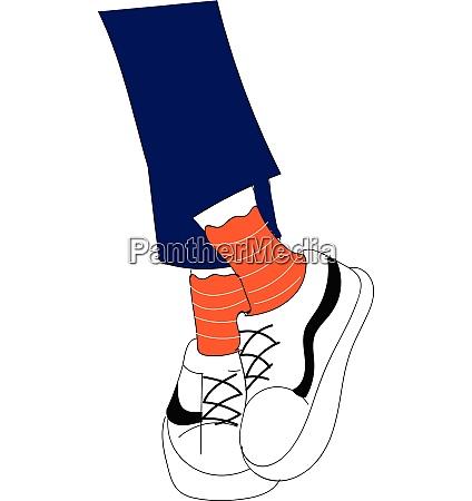 legs in blue jeanse orange