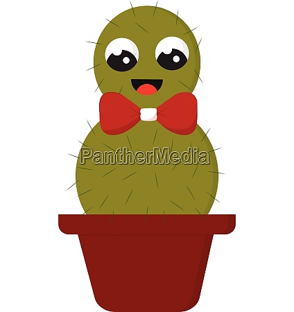 smiling green cactus with a red