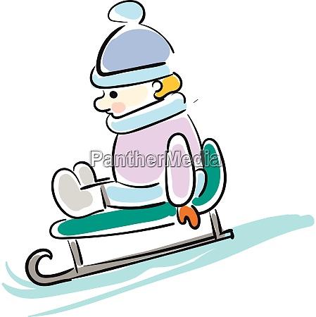 cartoon boy on sled vector illustration
