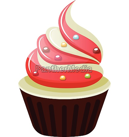 cupcake with red and white frosting