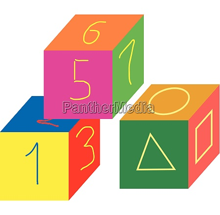 cube shaped multi colored number toyscube